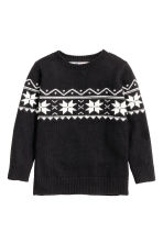 Jacquard-knit jumper - Black - Kids | H&M CN 2